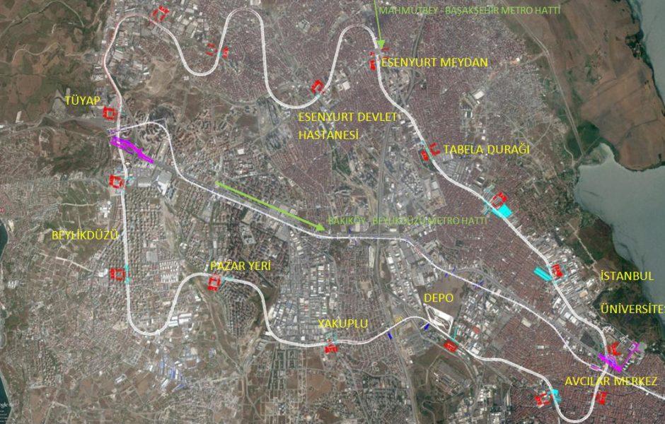Incirli-Edirnekapı-Gayrettepe-Söğütlüçeşme Rail System (New Name: Esenyurt-Avcılar-Beylikdüzü Metro Line)